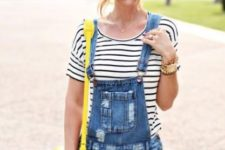 With striped shirt and yellow bag