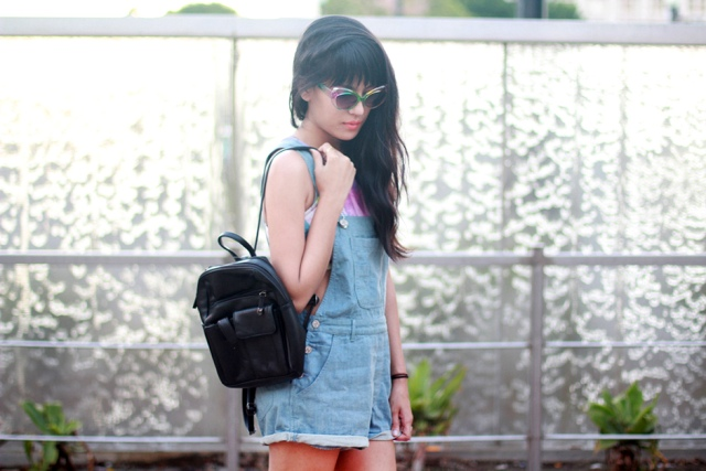 With top and denim romper