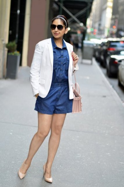 With white blazer, pale pink bag and beige pumps