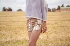 summer look with metallic shoes and shorts
