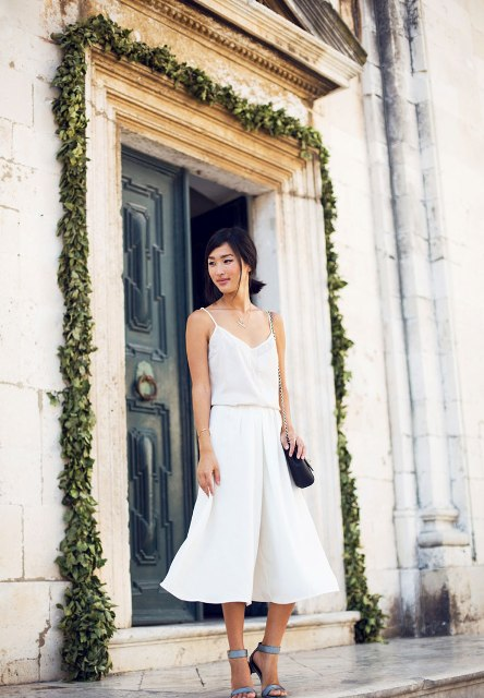 all white look with culottes