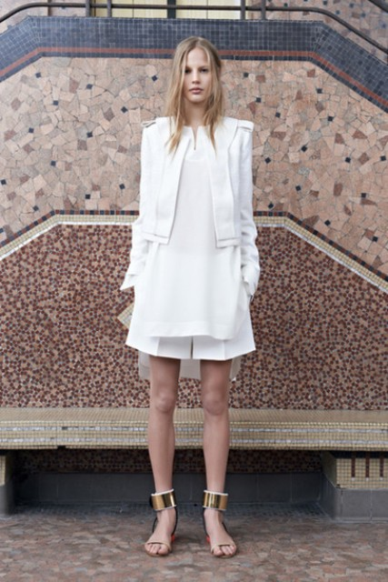 With white dress and white blazer