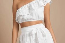 With white lace mini skirt