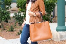 spring look with a leather jacket