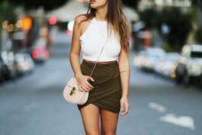 With wrap skirt, lace up sandals and mini bag