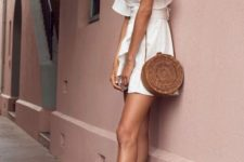 02 a basket round bag, tan lace up heels and a mini dress with ruffled sleeves for a sexy look