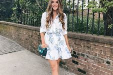 02 a cute floral shirtdress in blue and white, tan shoes and an emerald bag for a light summer feel