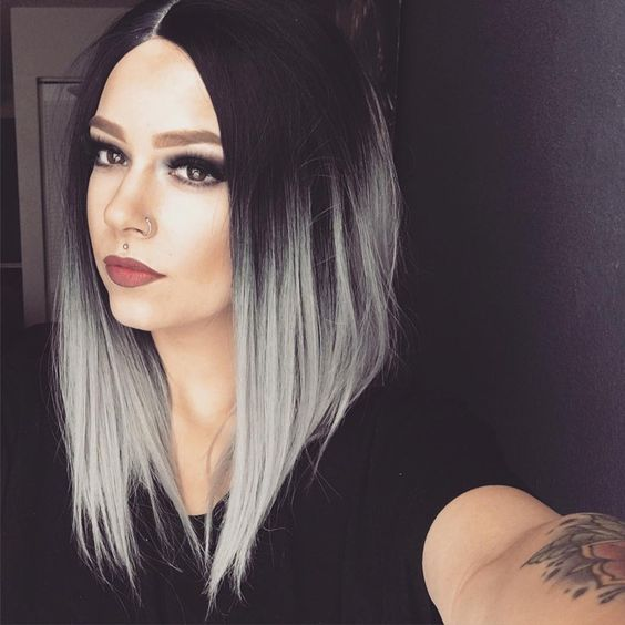 black to silver ombre long bob with an angle for a bold look