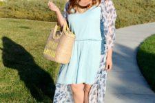 04 a light blue dress, a blue floral kimono, neutral shoes and a straw bag