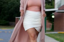 06 a date look with a pink top, a white wrap skirt, metallic shoes and a pink kimono for a girlish feel