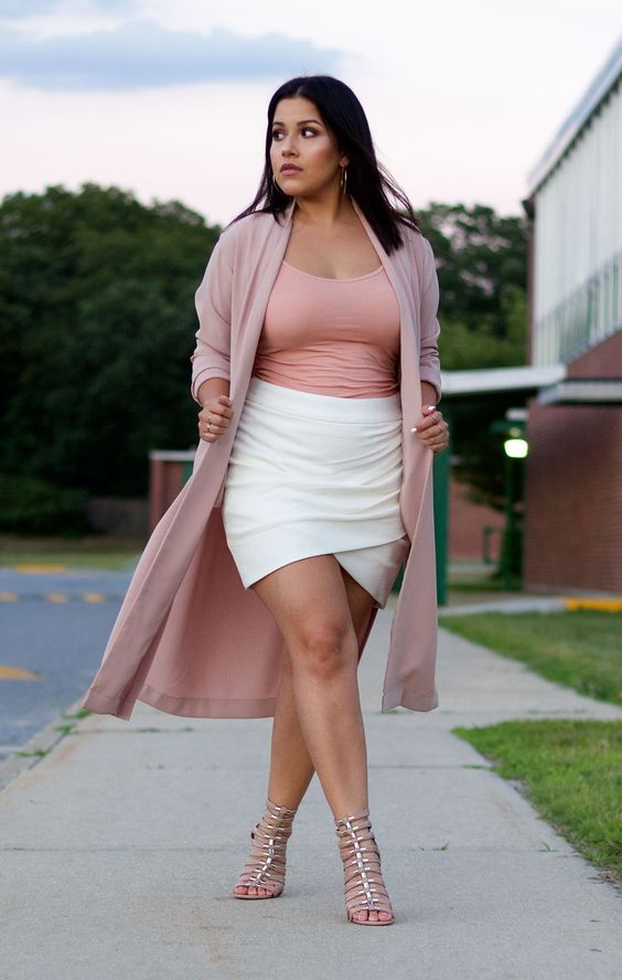 a date look with a pink top, a white wrap skirt, metallic shoes and a pink kimono for a girlish feel