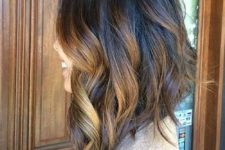 06 a long bob with black to bronde balayage waves and asymmetry