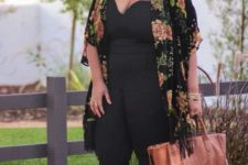 07 a black jumpsuit, tan shoes and a bag, a black floral kimono and a statement necklace for a special occasion
