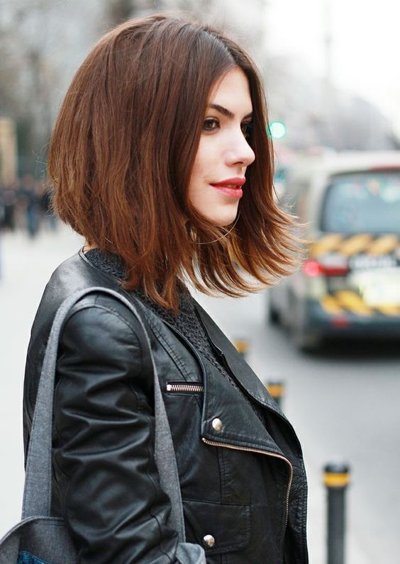 a chestnut textural asymmetrical bob for a fresh and trendy look