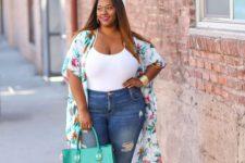 10 blue denim, a white spaghetti strap top, nude shoes, a bright floral kimono and a bright green bag