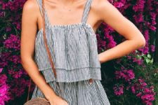 12 a striped black and white overall and a round wicker bag are all you need for an effortless look