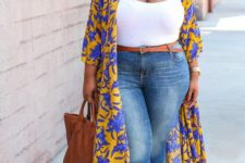 12 blue jeans, a white top, a bright floral kimono, a brown bag and slippers