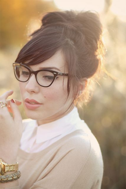 a black cat-eye frame is ideal for a chic retro touch