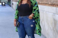 13 blue ripped jeans, a black top, a tropical leaf kimono, neon yellow heels for going out