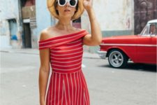 14 a retro-styled striped red and white midi dress, a hat and a trendy bag for a chic look