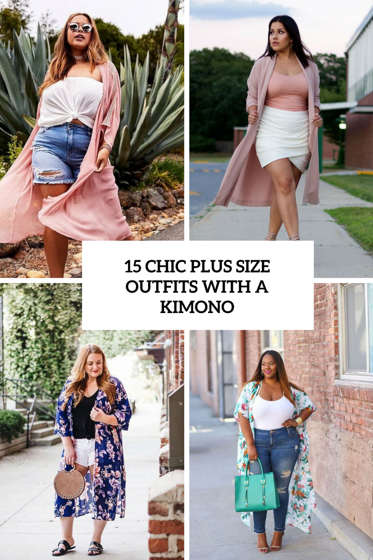 15 Chic Ways To Tie A Scarf: 15 Chic Plus Size Outfits With A Kimono