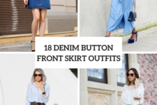 18 Outfits With Denim Button Front Skirts