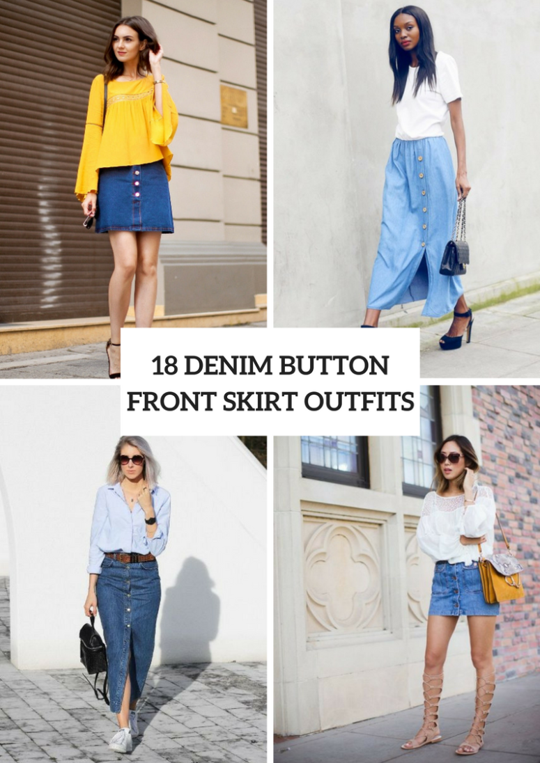 Outfits With Denim Button Front Skirts