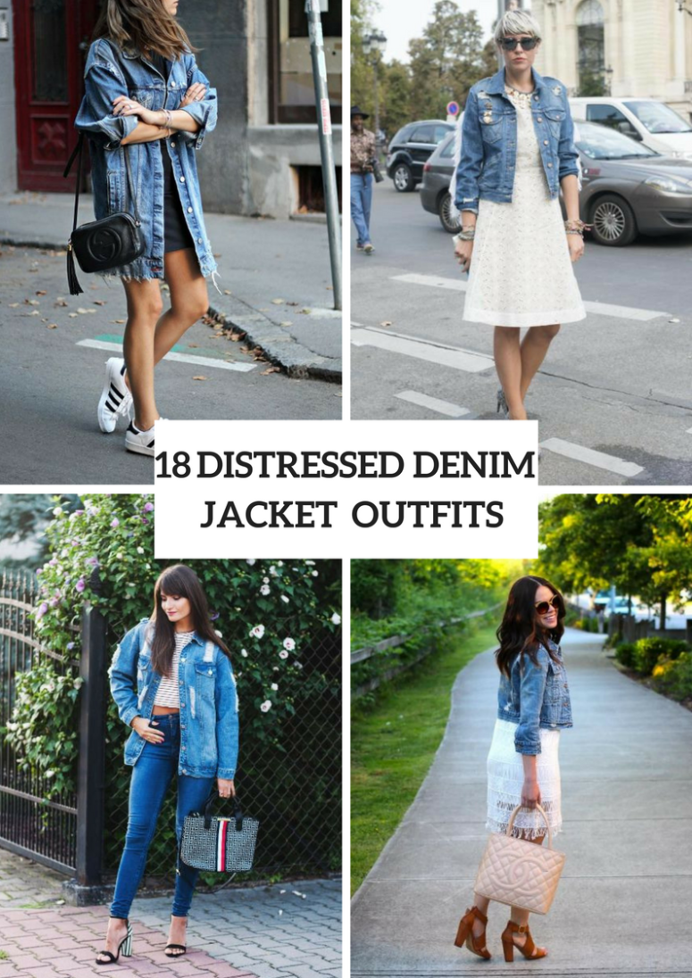 Outfits With Distressed Denim Jackets