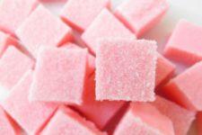 DIY sugar scrub cubes with a cranberry smell