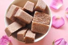 DIY chocolate sugar scrub cubes