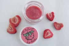 DIY strawberry lip balm with a tint