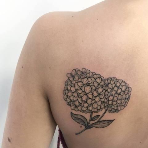 Black tattoo on the back
