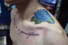 Blue rose on the shoulder