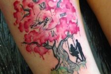 Cherry blossom tree, clock and two persons tattoo on the leg
