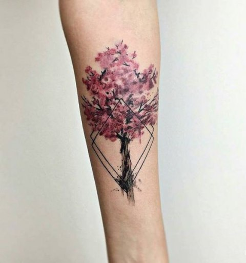 Cherry blossom tree tattoo on the forearm