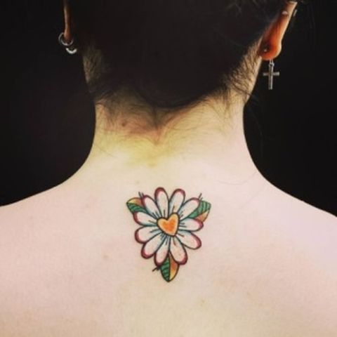 Colorful tattoo on the neck
