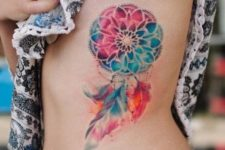 Colorful tattoo on the side
