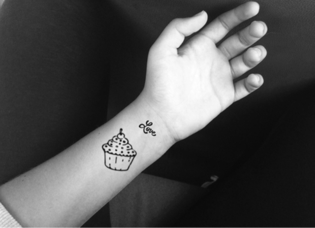 Cupcake tattoo design on the wrist