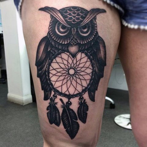Dreamcatcher and owl tattoo on the leg