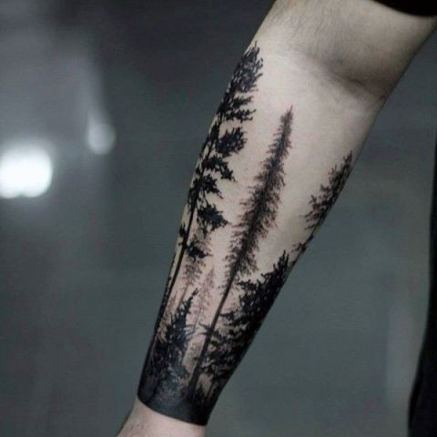 Forest tattoo on the hand