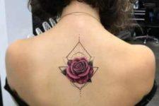 Geometric rose tattoo on the back