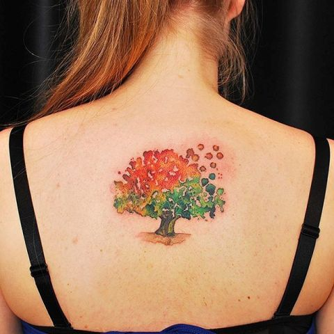 Green and orange tattoo on the back