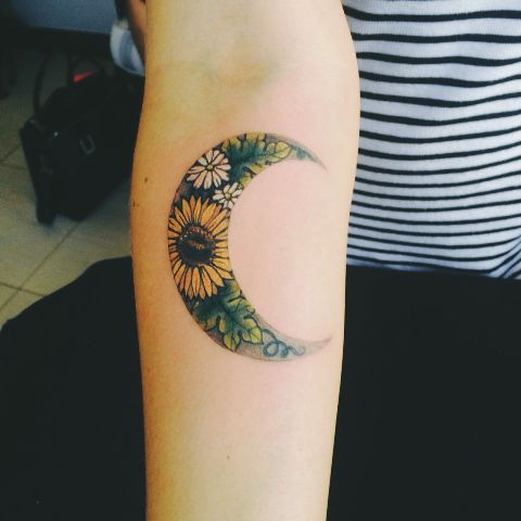Half moon tattoo with sunflower