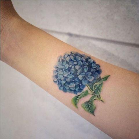 Hydrangea tattoo on the forearm