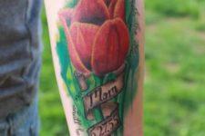 Memorial red tulip tattoo