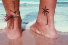 Palm tree tattoo on the leg