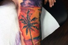 Palm tree tattoo on the shoulder and arm