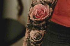 Perfect pink rose tattoo
