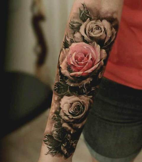 Perfect pink rose tattoo