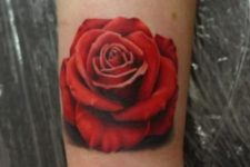 Red rose tattoo on the wrist